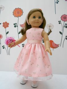 American Girl 18 inch doll clothes handmade Pink Dress with tights and shoes flower girl Easter by DeColoresDollFashion on Etsy