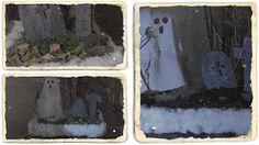 Centro de mesa para Halloween Día de los Muertos   Un año más llegamos a la noche más terrorífica. La noche en que los fantasmas y los muertos vivientes vuelven del más allá para cazar a sus presas............. Y la mejor manera de prepararnos es decorando nuestra casa os propongo un centro de mesa que hará las delicias de vuestros invitados y no digamos ya de vuestros fantasmas jajaja.  Es muy sencillo y consiste en aprovechar diferentes cosas que tengas por casa. En mi caso la base es la…