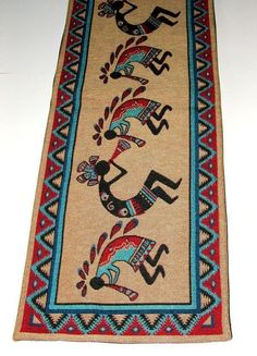 "A quality woven table runner featuring flute playing Kokopelli.. the fertility god. 13x72""  Placemats to match available in our ebay store. $36.95 w/ free shipping! #tablerunner #homedecor #kokopelli #southwestern"