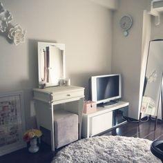 kanonさんの、机,Francfranc,ドレッサー,ホワイトインテリア,シンプルモダン,ホテルライク,ウォールフラワー,のお部屋写真