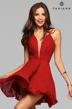 Faviana 7851 Short V-Neck Chiffon Dress in Ruby & Black