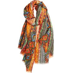 Revolution Printed Scarf (270 CAD) ❤ liked on Polyvore featuring accessories, scarves, boho scarves, bohemian scarves, patterned scarves, print scarves and tribal print scarves