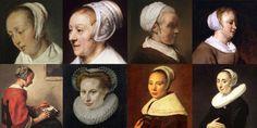"""Top left to right: """"Vrouw aan de maaltijd"""" Gabriël Metsu ca. 1661, ca. 1664 – """"Portrait of Catharina Hooghsaet (1607-1685)""""  Rembrandt, 1657 – """"Studie van een oude vrouw in een witte dop"""" Rembrandt  – """"Woman eating""""  Gabriël Metsu 1664-1666. Bottom left to right:  """"Meisje maakt kant""""  Caspar Netscher – """"Portrait of a Lady"""" Frans Pourbus the Elder 1580 – """"Portrait Of A Young Woman"""" Frans Hals 1655,1660 – """"Portrait of a woman"""" Frans Hals 1640"""