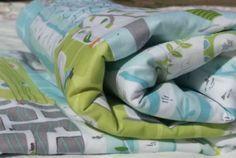 Backyard Baby patchwork baby boy blanket quilt in aqua by mikimomo, $55.00
