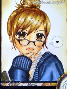 Manga Girl, I found this beauty on the internet, she's Coloured with copic Markers: Hair: E57, E53, E51, E50 Skin: E11, E00, E000, E95 Sweater: B99, B97, B95, B93 Her glasses are made with colourless nailpolish and het necklace are liquid pearls.