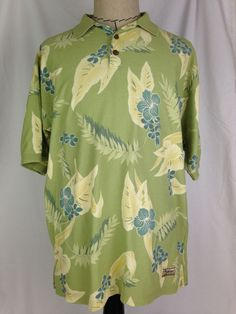TOMMY BAHAMA Mens Polo Shirt M Size Green Yellow Short Sleeve Floral 100% Cotton #TommyBahama #Hawaiian