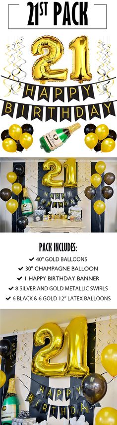 21st Birthday Banner and Balloon Pack!