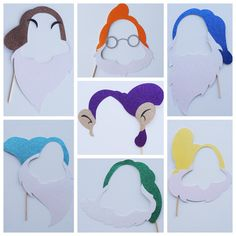 Snow White Inspired Photo Booth Props ; Seven Dwarfs ; Prince and Princess ; Disney Birthday Party ; Disney Photo Booth by Lets Get Decorative