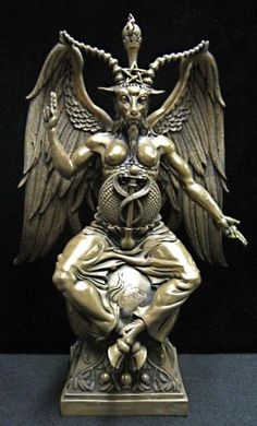 Baphomet statue, showing clearly its hermaphroditic nature.