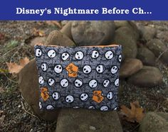 Disney's Nightmare Before Christmas, Jack Skellington Anytime/Zipper Bag. MAKES A GREAT STOCKING STUFFER!!!!! Anytime bags are small, lightweight zippered pouches made out of unique, bold and stylish fabrics. We hand make all of our products and the anytime bag is no exception. These are great, inexpensive bags to use anytime and since they're machine washable, they'll go anytime. This bag measures about 10 in wide x 9 in long. Examples of use: • Cosmetic bag • Small toy bag • Pencil pouch…