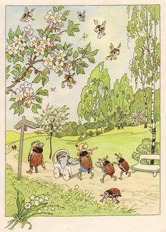 """Fritz Baumgarten (German, 1883-1966), illustrator. Mai. From """"Von den wunderlichen Leuten und den vier Jahreszeiten,"""" 1958."""