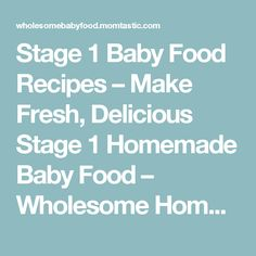 Stage 1 Baby Food Recipes – Make Fresh, Delicious Stage 1 Homemade Baby Food – Wholesome Homemade Baby Food Recipes