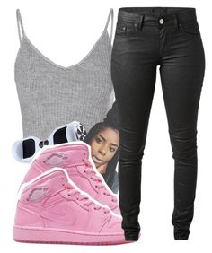 """""""Breast Cancer Awareness Month~ Kiara"""" by the-real-queens ❤ liked on Polyvore featuring Glamorous and Acne Studios"""
