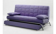 Sofa cama con cajón. Sofa cama de tres plazas. Sofa tapizado en tela morada.