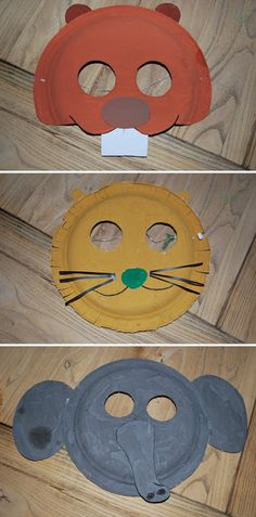 Animal Masks ~ Chintomby Chintomby Paquette you could do this for the older kids if you can't find any premade! Paper Plate Masks, Paper Plate Art, Paper Plate Crafts, Paper Plates, Animal Masks, Camping Crafts, Animal Crafts, Animal Fun, Preschool Art