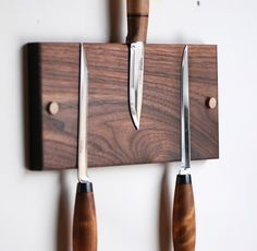 Magnetic Walnut Knife Holder