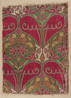 Silk Fragment, 15th century  Spain, Mudejar, 15th century  lampas weave, silk, Average - h:34.20 w:25.20 cm (h:13 7/16 w:9 7/8 inches). Purchase from the J. H. Wade Fund 1926.511