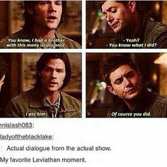 "Another classic ""real Supernatural dialogue or not?"" gif. Yep. Real dialogue. 