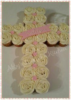 Baptism cupcake cross!