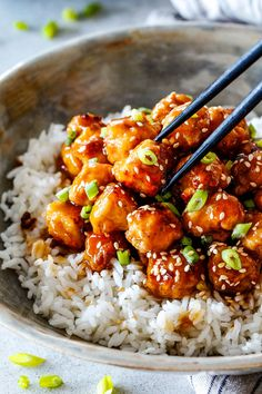 General Tso's Chicken that is BAKED and Not Fried! This General Tso's Chicken is my favorite Chinese Chicken of all time! The sweetness of the caramel sauce perfectly balanced by Asian chili sauce and zingy ginger infused with garlic and toasted sesame seed oil.
