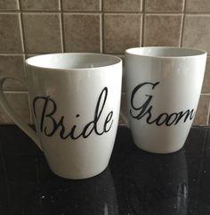 Bride and groom coffee mug set by GlitzyGlitterGal on Etsy