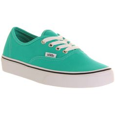 Vans Authentic ($33) ❤ liked on Polyvore featuring shoes, sneakers, vans, sapatos, zapatos, trainers, aqua green true white, unisex sports, white lace up sneakers and white lace up shoes
