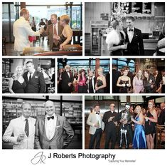 Guests dressed in James Bond theme outfits for a party