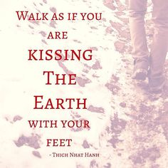 Walk as if you are kissing the earth with your feet. - Thich Nhat Hanh +++++++++++ There are always opportunities for expressing love and gentleness.+++++++++++++