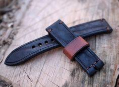 20mm Heavy solid leather black watch strap by VladislavKostetskyi
