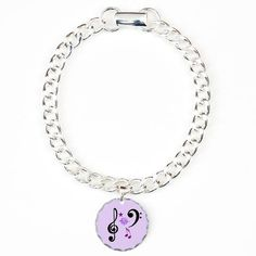 MoonDreams Music Notes Silver and Purple Round Charm Bracelet #charm #bracelet #music #silver #purple #moondreamsmusic #musicnotes