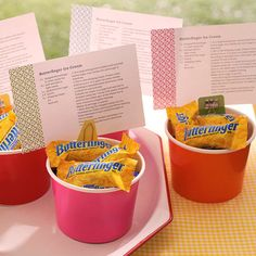 Send guests home with a treat they can make in their own kitchen. Mini Butterfingers are the base of this ice cream treat; get our free recipe card to make a cute package gift.