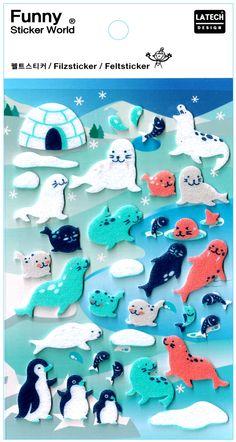 Funny Sticker World Arctic Friends Felt Sticker Sheet