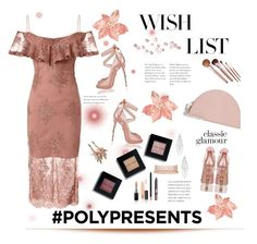 """Polyvore Contest: Win It! #PolyPresents: Wish List- Blush Satin & Lace"" by tailormadelady on Polyvore featuring Clarins, Nina, Bare Escentuals, Express, MAC Cosmetics, Charlotte Tilbury, Bobbi Brown Cosmetics, Giuseppe Zanotti, Carolee and Jules Smith"