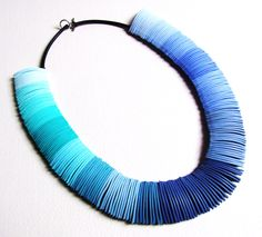 polymer clay necklace 'blue flow'