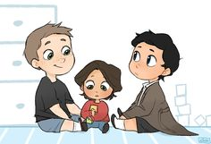 "elicedraws: ""Baby sam, Dean and Cas! request for @damy-02 """