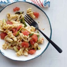 Pasta with Fresh Tomatoes, Grilled Scallions