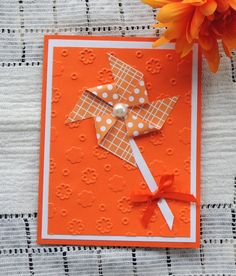 PinWheel Birthday Card  handmade  orange by karenirene on Etsy, $2.25