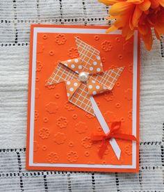 PinWheel Birthday Card handmade orange by karenirene on Etsy
