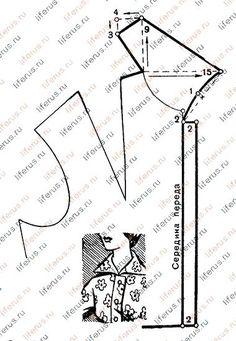 Цельнокроенный воротник и чертеж его выкройки