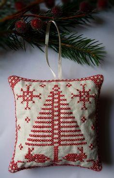 Cross Stitched Folk Art Ornament rabbits by CherieWheeler on Etsy