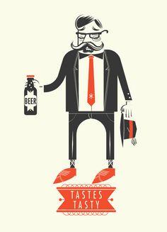 Alex Perez illustration.  beer tastes tasty