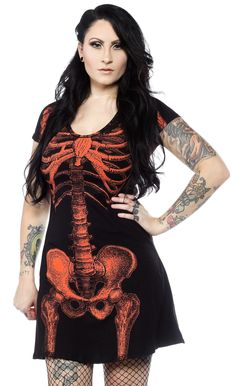 KREEPSVILLE 666 SKELETON HALLOWEEN FLARE DRESS BLK/RED $34.00 #kreepsville #dress #skeleton #halloween