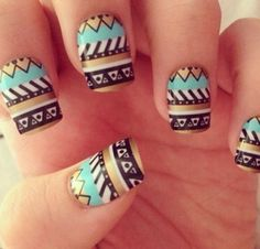 gold and blue aztec