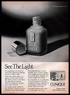 #1980s Clinique Extra Help #Makeup #SkinCare B&W #Vintage Photo Print #Ad #Clinique