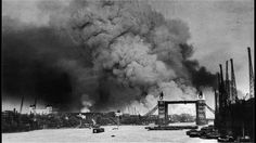 View of the Thames River and Tower Bridge during the first mass air raid on London on 7 September 1940 The Blitz, Air Raid, Battle Of Britain, Images Google, China, Us History, Military History, Tower Bridge, World War Two