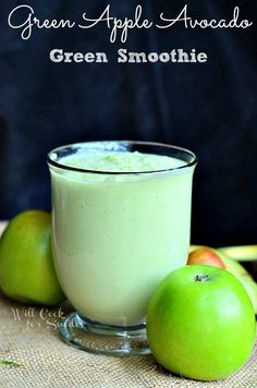 Green Apple Avocado Green Smoothie | from willcookforsmiles.com #greensmoothie #smoothie