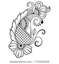 Similar Images, Stock Photos & Vectors of Vector Vintage Floral Decorative Element Design - 383394679 Estilo Mehndi, Arte Mehndi, Mehendi, Mandala Tattoo Design, Henna Tattoo Designs, Flower Tattoo Designs, Flower Tattoos, Mehndi Designs Book, Wedding Mehndi Designs