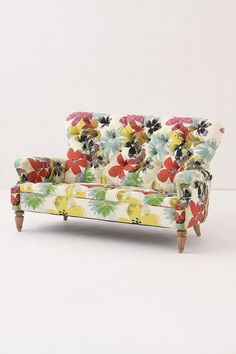 take an old love seat, add funky fabric and you have a great new piece of furniture.  So Fun!