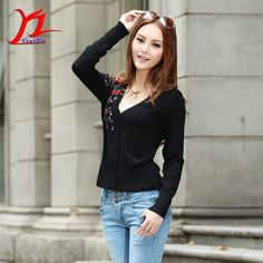 Hot Autumn Springtime Women Beaded Print Chinoiserie Single-Breasted Cardigan Knitwear Outer Slim Comfort National Style Fashion
