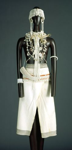 Costume for a diviner's acolyte (Umkhwetha), before 1966, Xhosa peoples, Thembu subgroups, South Africa.